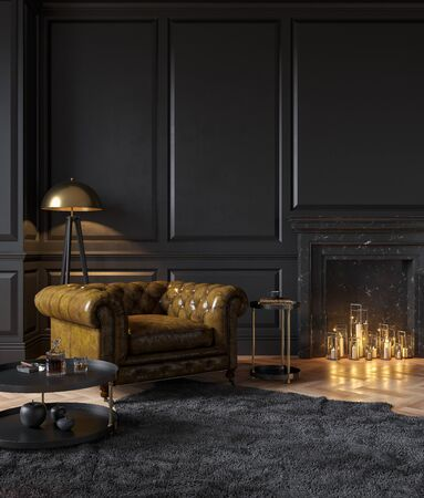 Black classic interior with armchair, moldings, fireplace, candle, floor lamp, carpet and table. 3d render illustration mockup. Stok Fotoğraf