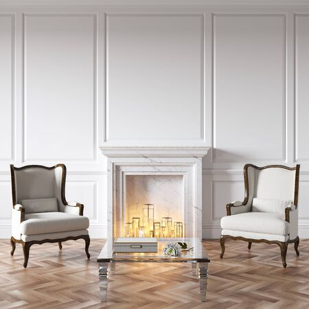 Classic white interior with fireplace, candles, armchairs, glass table, decor and wood floor. Stok Fotoğraf
