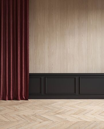 Modern classic empty interior with curtain, moldings, wood floor. Stok Fotoğraf