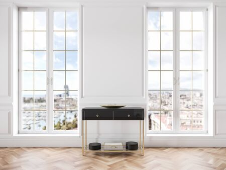 White classic interior with dresser, moldings, window and wooden floor. Stok Fotoğraf