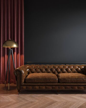 Black classic loft interior with leather sofa, floor lamp, curtain and wood floor.