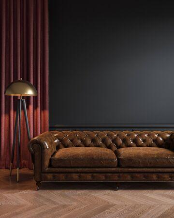 Intérieur loft classique noir avec canapé en cuir, lampadaire, rideau et parquet.