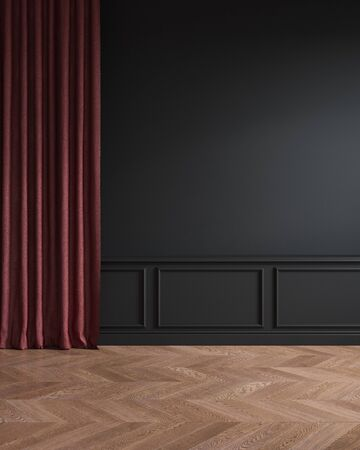 Black classic interior with red curtain, moldings and wooden chevron floor. Stok Fotoğraf