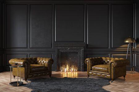 Interior clásico negro con chimenea, sillones de cuero, alfombra, velas.