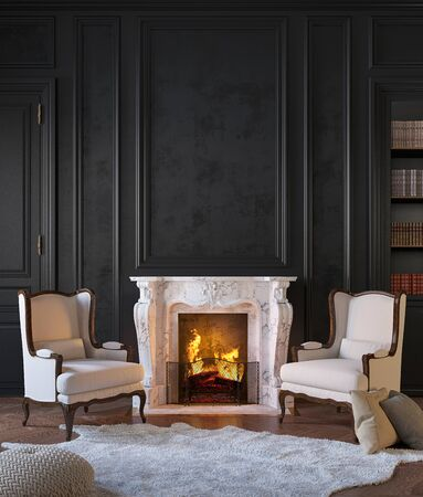 Classic black interior with fireplace, armchairs, moldings, wall pannel, carpet, fur. 3d render illustration mock up. Zdjęcie Seryjne