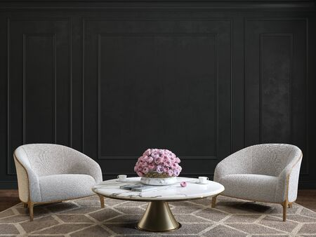 Classic black interior with armchairs, coffee table, flowers and wall moldings. Imagens