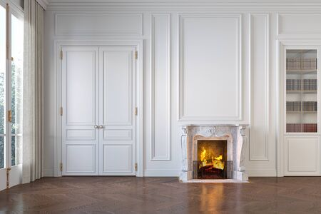 Classic white empty interior with fireplace, moldings, wall pannel, window, door. 3d render illustration mock up. Banque d'images