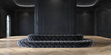 Exhibition hall, museum, showroom classic black minimalistic interior with capitone upholstery sofa, molding, wall panel