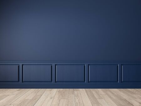 Classic royal blue trend color, blank wall interior with wall panel, moldings, parquet, wood floor. 3d render illustration mock up.