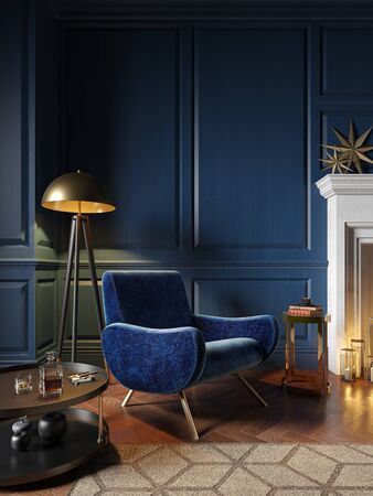 Classic royal blue color interior with armchair, fireplace, candle, floor lamp, carpet. 3d render illustration mock up. 스톡 콘텐츠