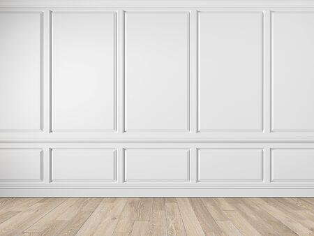 Modern classic white empty interior with wall panels, molding and wooden floor. 3d render illustration mock up.