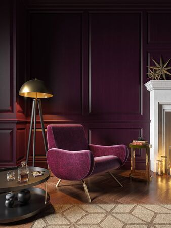Classic purple interior with armchair, fireplace, candle, coffee table, floor lamp, carpet. 3d render illustration mock up.
