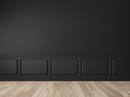 Modern classic black empty interior with wall panels, molding and wooden floor. 3d render illustration mock up.