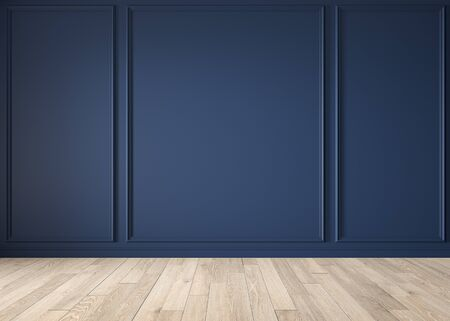 Classic blue color interior blank wall with moldings, wood floor. 3d render illustration mock up. Imagens