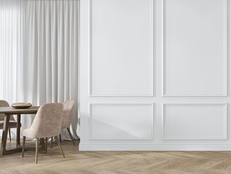 Modern classic white interior with moldings, panelling, dinner table, pink chairs, wood floor. 3d render illustration mock up. Imagens