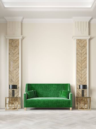 Art deco style beige interior with green sofa, columns, table lamp, moldings. 3d render illustration mock up.