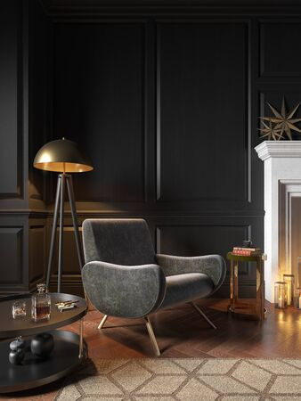 Classic black interior with armchair, fireplace, candle, coffee table, floor lamp, carpet. Imagens