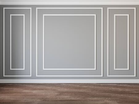 Modern classic gray interior blank wall with moldings and wood floor.