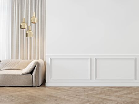 Modern classic white interior with moldings, sofa, lamps, curtains and wood floor.