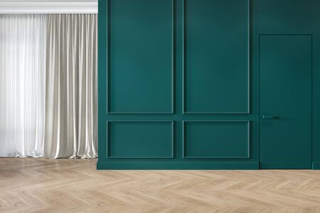 Modern classic green interior blank wall with moldings, curtains, hiden door and wood floor.