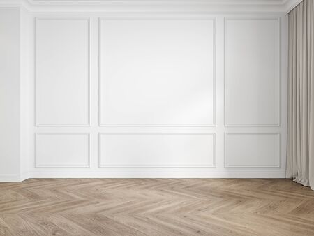Modern classic white interior blank wall with moldings, panelling, wood floor, curtain.