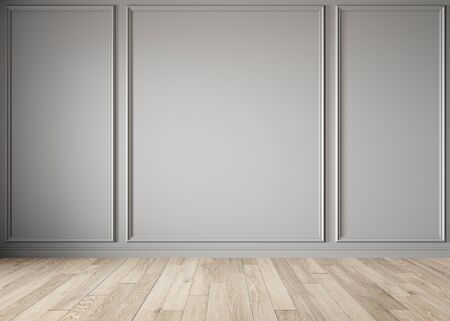 Modern classic gray blank wall with moldings and wood floor.