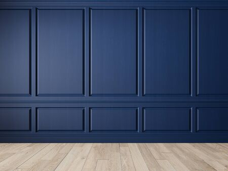 Classic blue interior blank wall with panels, moldings and wood floor. Imagens