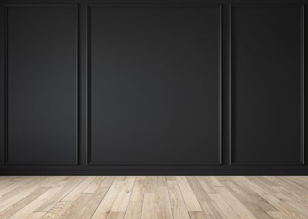 Modern classic black matte blank wall, molding, empty interior with wall panels and wooden floor. 3d render illustration mock up. Imagens