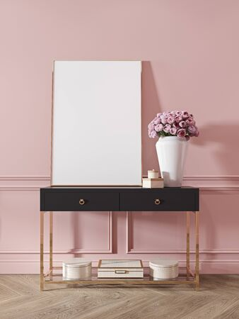 Modern classic pink interior with dresser, console, furniture, decor, flowers, gifts. 3d render illustration mock up. Imagens