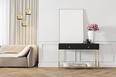 Modern classic white interior with dresser, console, sofa, furniture, lamp, flower, gifts, frame, picture. 3d render illustration mock up.
