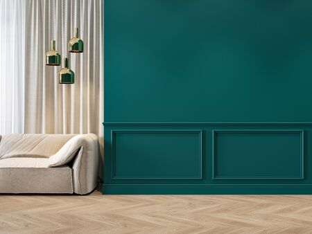 Modern classic green interior with moldings, sofa, lamps, curtains and wood floor. 3d render illustration mock up. Imagens