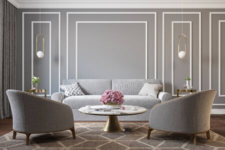 Classic gray interior with armchairs, sofa, coffee table, lamps, flowers and wall moldings. 3d render illustration mockup. Imagens