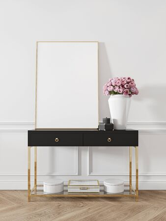 Modern classic white interior with dresser, console, furniture, decor, flowers, gifts. 3d render illustration mock up.