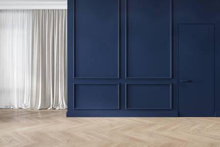 Modern classic blue interior blank wall with moldings, curtains, hiden door and wood floor. 3d render illustration mock up.