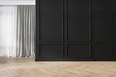 Modern classic black interior blank wall with moldings, curtains, hiden door and wood floor. 3d render illustration mock up. Imagens