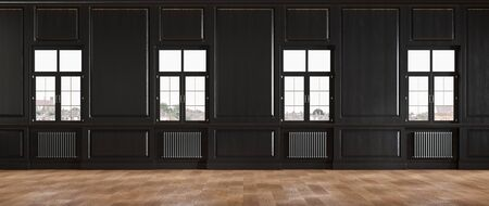 Black classic loft room interior with wall panel and windows. Imagens