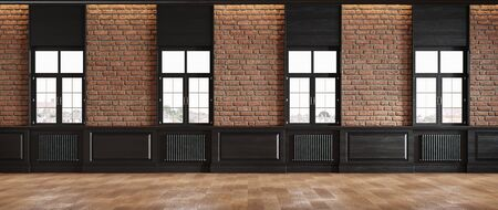 Classic loft room interior with brick wall classic wall panel and windows.