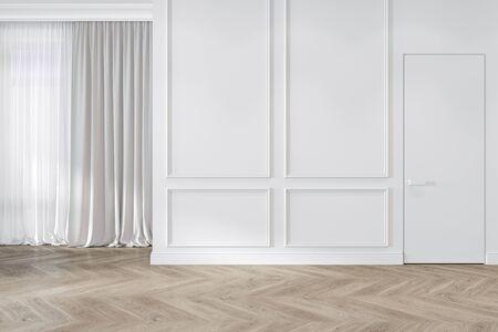 Parete vuota interna bianca classica moderna con modanature, tende, porta nascosta e pavimento in legno. Illustrazione di rendering 3D mock up.