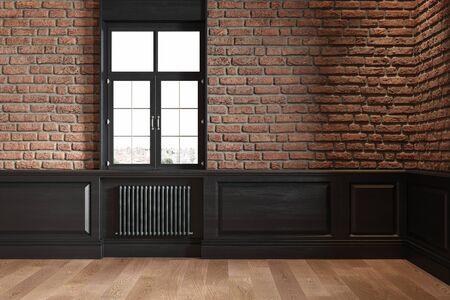 Loft interior with brickwall, wall panel, window, radiator and wooden floor.