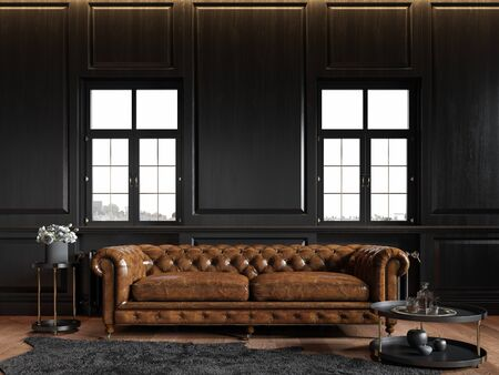 Classic loft black interior with wood panel, chesterfield couch, carpet, flowers, coffee table and windows.