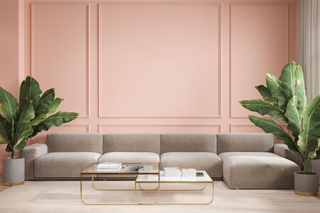 Modern minimalism peach interior with couch, sofa, palm plants and coffee tables.