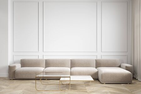 Modern minimalism white interior with couch, sofa and coffee tables. Imagens
