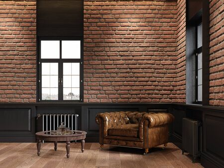 Loft interior with brick, chesterfield armchair, coffee table and windows. 3d render illustration mock up.