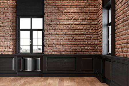 Loft interior with brickwall, wood panel and windows. 3d render illustration mock up.