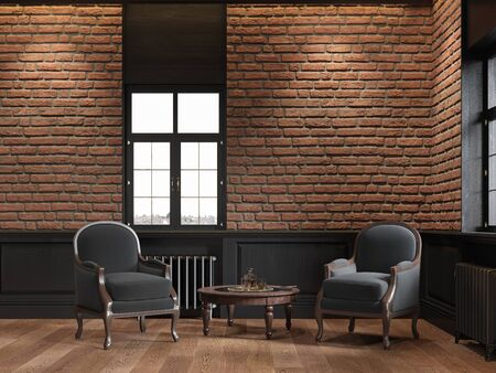 Loft interior with brick wall and armchairs. 3d render illustration mock up. Imagens