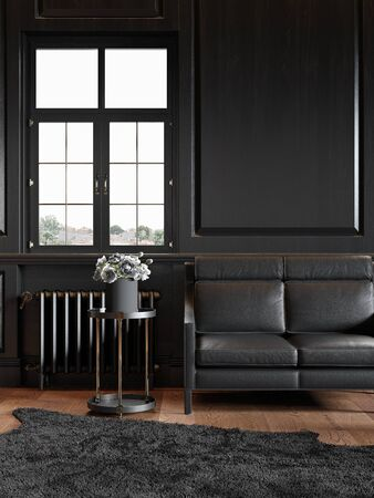 Black classic interior with leather sofa and wall panels. 3d render illustration mock up.