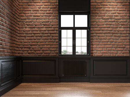 Empty loft interior with brick wall, wall panel and window.