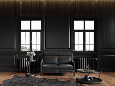 Black classic loft interior with wall panels, leather sofa, carpet and decor. 3d render illustration mock up.