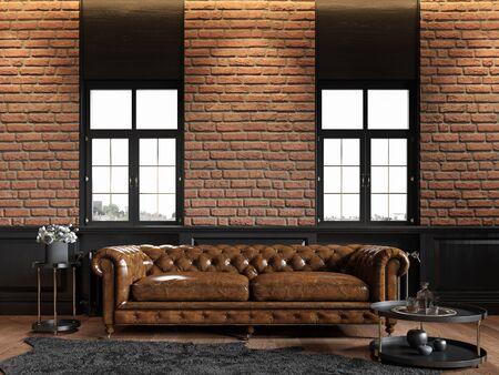 Loft interior with chester sofa, brick wall, panel, carpet and decor.