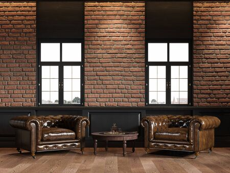 Loft interior with leather armchairs, brick wall, wall panel, coffee table. 3d render illustration mock up.